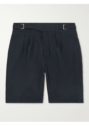 ANDERSON & SHEPPARD - Gurkha Pleated Linen Shorts - Men - Blue - UK/US 36