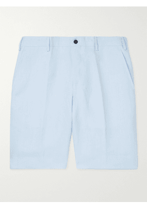ANDERSON & SHEPPARD - Wide-Leg Linen Bermuda Shorts - Men - Blue - UK/US 36