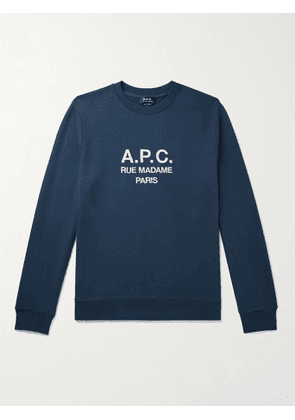 A.P.C. - Rufus Logo-Embroidered Loopback Cotton-Jersey Sweatshirt - Men - Blue - XS