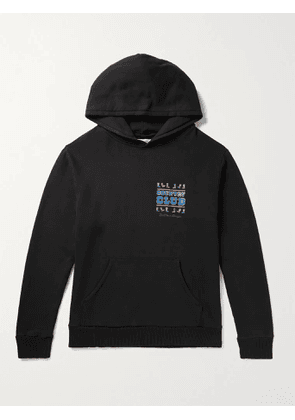 PASADENA LEISURE CLUB - Country Club Enzyme-Washed Printed Fleece-Back Cotton-Jersey Hoodie - Men - Black - XS
