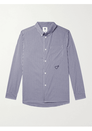 ADIDAS CONSORTIUM - Human Made Button-Down Collar Logo-Embroidered Gingham Woven Shirt - Men - Blue - XS