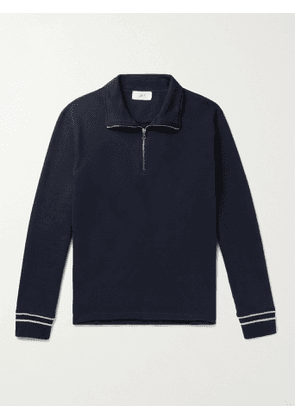 MR P. - Cotton-Jersey Half-Zip Sweatshirt - Men - Blue - M