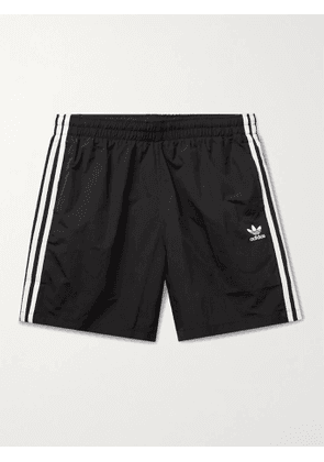 ADIDAS ORIGINALS - Adicolor Logo-Print Striped Primegreen Shorts - Men - Black - M