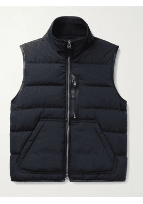 TOM FORD - Leather-Trimmed Quilted Shell Down Gilet - Men - Blue - IT 44