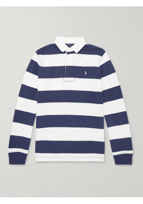 POLO RALPH LAUREN - Logo-Embroidered Striped Cotton-Jersey Polo Shirt - Men - Blue - S