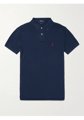 POLO RALPH LAUREN - Slim-Fit Logo-Embroidered Cotton-Piqué Polo Shirt - Men - Blue - S