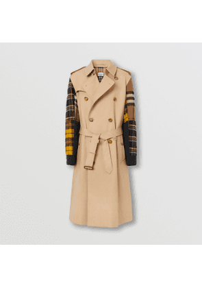 Burberry Patchwork Check Sleeve Cotton Gabardine Trench Coat