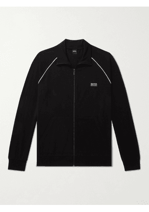 HUGO BOSS - Piped Logo-Embroidered Stretch-Cotton Jersey Track Jacket - Men - Black - M