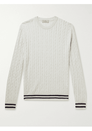 CANALI - Striped Cable-Knit Wool Sweater - Men - Gray - IT 46