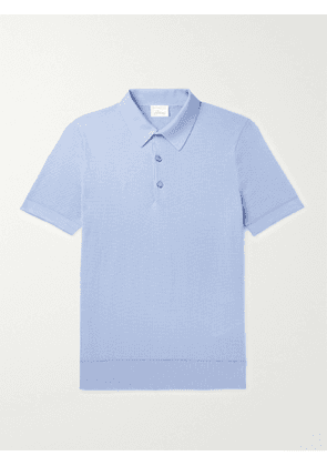 BRIONI - Textured-Cotton Polo Shirt - Men - Blue - IT 54