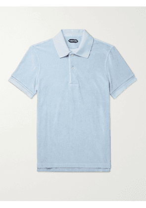 TOM FORD - Cotton-Blend Terry Polo Shirt - Men - Blue - IT 46