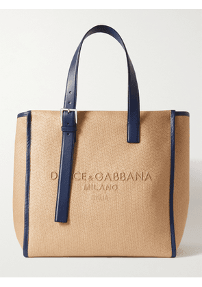 DOLCE & GABBANA - Leather-Trimmed Logo-Embroidered Herringbone Canvas Tote Bag - Men - Neutrals