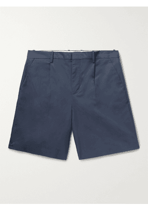 A.P.C. - Terry Pleated Cotton-Blend Gabardine Shorts - Men - Blue - IT 44
