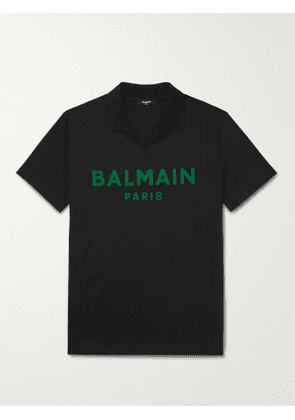 BALMAIN - Logo-Flocked Cotton-Jersey Polo Shirt - Men - Black - S