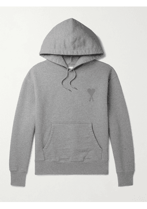 AMI PARIS - Logo-Embroidered Organic Loopback Cotton-Jersey Hoodie - Men - Gray - M