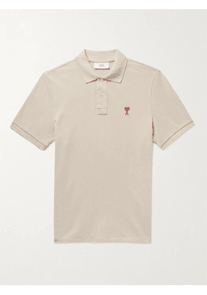 AMI PARIS - Logo-Embroidered Cotton-Piqué Polo Shirt - Men - Neutrals - M