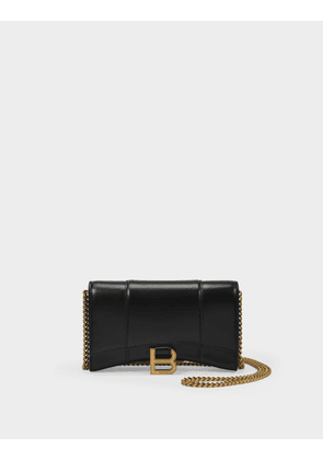 Balenciaga Hourglass Wallet on Chain in Black Shiny Leather