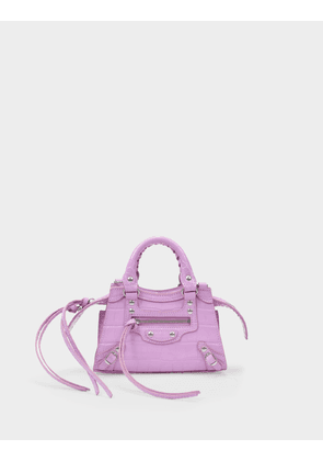 Balenciaga Neo Classic City Nano Bag in Pink Shiny Embossed Leather