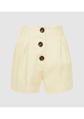 Reiss Albe - High Waisted Linen Shorts in Yellow, Womens, Size 4
