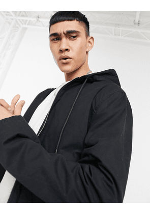 ASOS DESIGN bomber jacket with hood in black