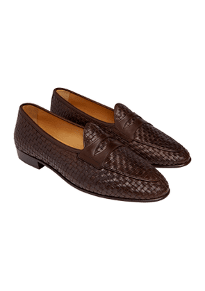 Dark Brown Calf Leather Sagan Classic Woven Penny Loafers