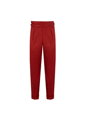 Red Cotton Single-Pleat Trousers