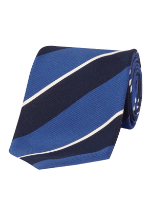 Navy & Light Blue Stripe Silk & Cotton Tie