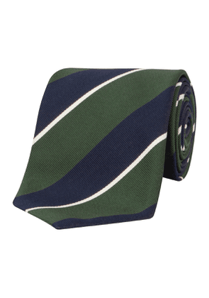 Navy & Green Stripe Silk & Cotton Tie