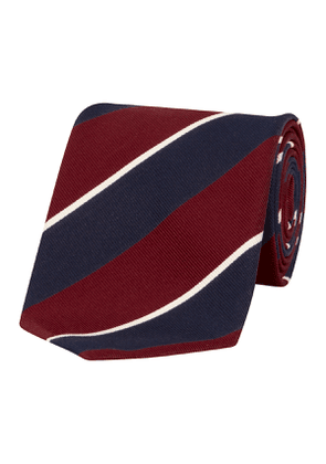 Navy & Crimson Stripe Silk & Cotton Tie