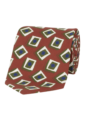 Olive & Red Geometric Silk Tie