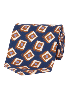 Orange & Navy Geometric Silk Tie