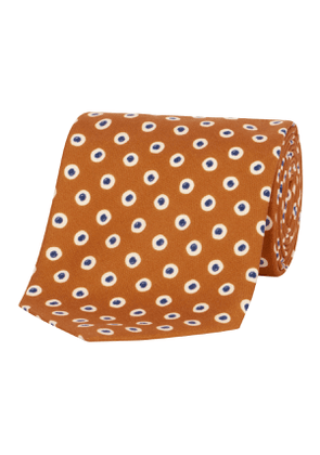 Orange Spotted Silk Tie