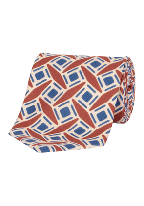 Blue & Orange Geometric Silk Tie