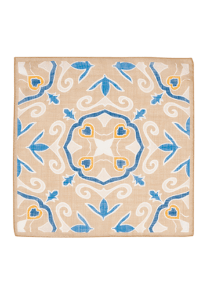 Sand & Blue Cotton & Linen Handkerchief