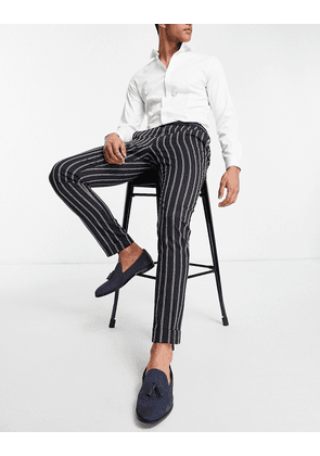 ASOS DESIGN skinny stripe smart trouser with back cinch and turn up-Navy