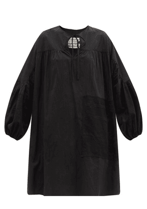 By Walid - Abigail Lace-patchwork Cotton-poplin Tunic Top - Womens - Black