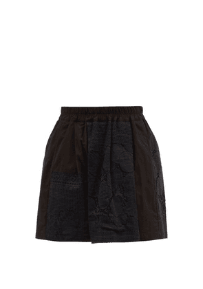 By Walid - Narmin Lace-panel Upcycled-cotton Shorts - Womens - Black