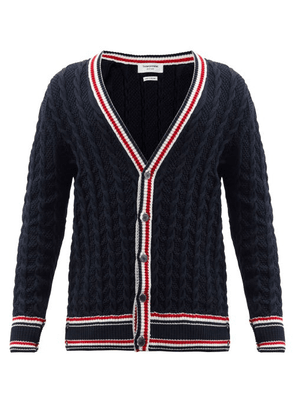 Thom Browne - Tricolour-trim Cabled-cotton Cardigan - Mens - Navy