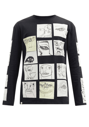Charles Jeffrey Loverboy - Le Fresh Peeps Cotton-jersey Long-sleeved T-shirt - Mens - Black