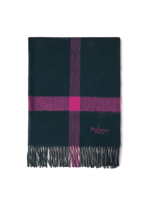 Mulberry Large Check Lambswool Scarf - Charcoal