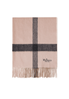 Mulberry Large Check Lambswool Scarf - Icy Pink-Charcoal