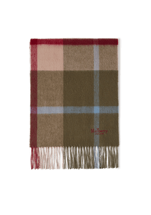 Mulberry Small Check Lambswool Scarf - Olive Green
