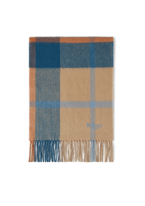 Mulberry Small Check Lambswool Scarf - Apricot