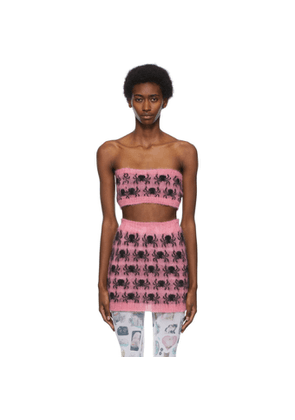 Ashley Williams SSENSE Exclusive Pink and Black Mohair Spider Miniskirt