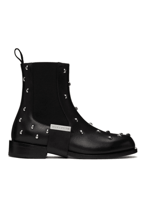 1017 ALYX 9SM Black Leather Strap Studded Chelsea Boots