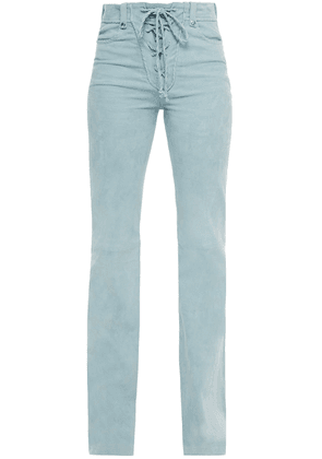 Iro Lace-up Suede Bootcut Pants Woman Sky blue Size 34