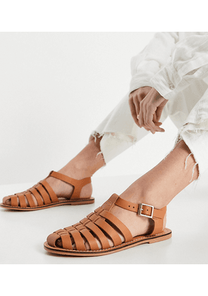 ASOS DESIGN Wide Fit Marina leather fisherman flat shoes in tan-Brown