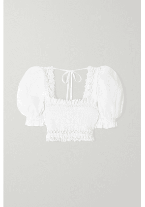 Charo Ruiz - Judy Cropped Crochet-trimmed Shirred Cotton-blend Voile Top - White
