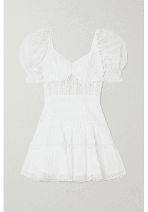 Charo Ruiz - Katharine Guipure Lace And Cotton-blend Voile Mini Dress - White