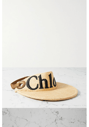 Chloé - Woody Leather-trimmed Embroidered Raffia Visor - Beige